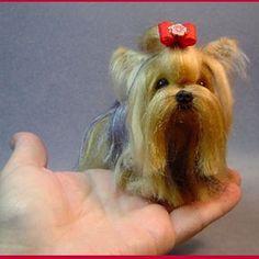 Custom Yorkshire Terrier needle felted dog by DreamwoodArtDesigns, $139.00.  I love Yorkies!