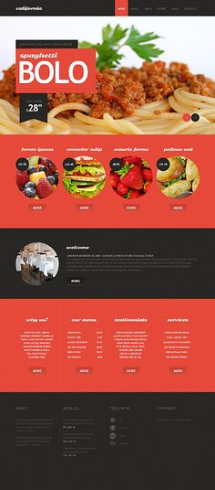 Web design inspiration: Bold / color blocking behind header text / red / black / food / circles / large photo