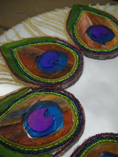 Peacock feathers stained glass and beads mirror by AugustGlass1, $225.00
