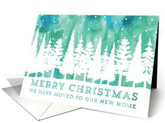 Christmas We've Moved Rustic Watercolor Northern Lights card by Dreaming Mind Cards #anycardimaginable