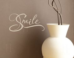 Smile Wall Decal Words vinyl graphic sticker lettering, Photo walls, Photography display, Dentist office decor