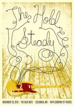 The Hold Steady concert poster artwork by Bryan Butler. Guitar Posters, Band Posters, Concert Posters, Music Artwork, Art Music, Poster Boys, Gig Poster, Music Illustration, Illustrations