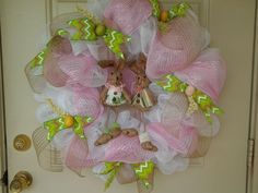 Easter Spring 27 inch Deco Mesh Wreath White ,Pink, Greens w/ Bunnies #handmade