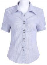 Black White Short Sleeve Striped Chiffon Blouse $22.58  #SheInside