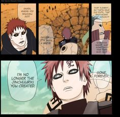 Gaara vs his father (his father died in the first series but is now ressurected and tried to kill Gaara when he was younger because of his demon :( ) this is during the 4th Shinobi War