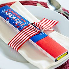 Encourage guests to get in the spirit by setting each place with a box of sparklers: http://www.bhg.com/holidays/july-4th/crafts/patriotic-picnic-serving-ideas/?socsrc=bhgpin060414sparklerplacesetting&page=5