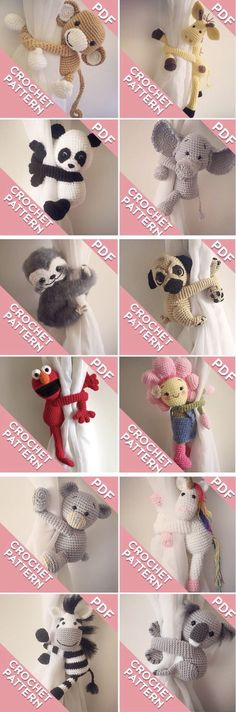 Crochet pattern monkey and friends curtain tie backs