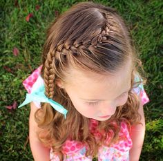 Lace to french curved braid Girls Hairdos, Flower Girl Hairstyles, Little Girl Hairstyles, Bride Hairstyles, Pretty Hairstyles, Hairstyle For Wedding Day, Curly Hair Styles, Natural Hair Styles, Baby Girl Hair