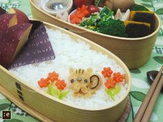 Squirrel with flowers bento