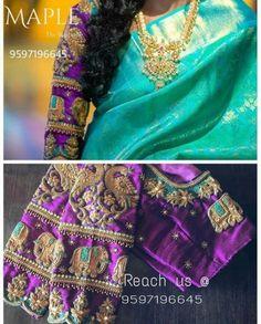 Wedding Saree Blouse Designs, Pattu Saree Blouse Designs, Blouse Designs Silk, Latest Maggam Work Blouses, Indie, Sumo, Blouse Models, Bollywood, Lehenga Collection