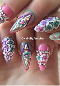 Pink turquoise floral studded rhinestone nails by  nails by annabell m  Fancy Nails 15ddc4d6113b