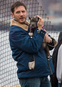 Tom Hardy + a puppy - Mr. Hardy is filming a movie about animal rescue & pibbles!