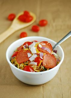 Low Carb Pizza Pasta - Zucchini noodles with delicious pizza toppings.