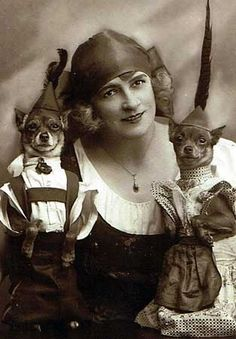 These 13 Vintage Dogs In Costume Prove Your Great Grandparents Had a Sense of Humor These vintage dog photos show the best in dog apparel from past decades. Dogs in lederhosen and dresses, you can't deny the cuteness! Dog Photos, Dog Pictures, Animal Pictures, Chihuahua Clothes, Chihuahua Love, Vintage Dog, Vintage Circus, Vintage Ladies, Pet Costumes