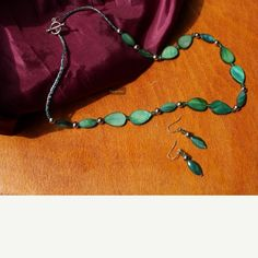 Green hand beaded jewelry set 21 inch green hand beaded necklace with toggle clasp and matching earrings with silver sterling hooks Handmade Jewelry