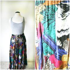 vintage 80s COLORFUL BIRDS boho maxi skirt by PasseNouveauVintage, $28.25