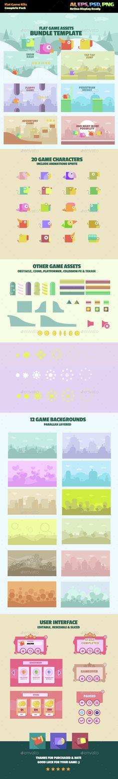 Flat Game Kit - Game Kits #Game #Assets #UI | Download http://graphicriver.net/item/flat-game-kit/14443129?ref=sinzo