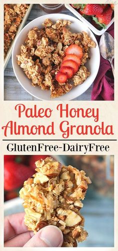 Paleo Honey Almond Granola- only 5 ingredients and 30 minutes till homemade granola. Gluten free, dairy free, naturally sweetened and so delicious!