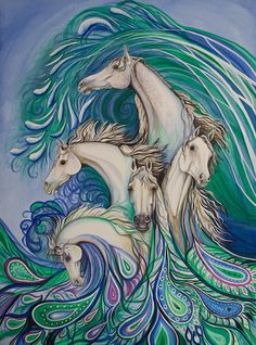 Paisley Sea Horses Art Printonnor from http://www.easyart.com/