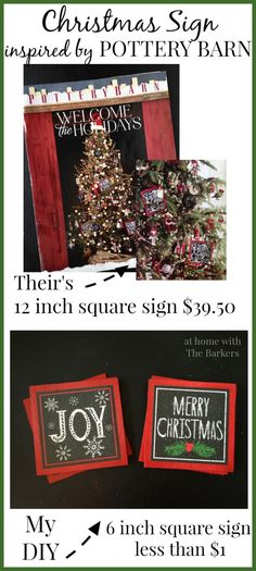 Christmas Sign inspired by Pottery Barn-Their's vs My DIY