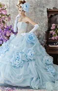 So gorgeous it stops my heart. Light-Blue-Wedding-Dresses-by-Stella-de-Liberto. Light Blue Wedding Dress, Colored Wedding Dresses, Bridal Dresses, Wedding Gowns, Wedding Venues, Prom Dresses, Wedding Ideas, Fairytale Dress, Fantasy Dress