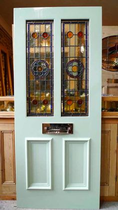 Victorian Style 2 Panel Stained Glass Front Door - Stained Glass Doors Company - March 09 2019 at House Front Door, Glass Front Door, Glass Doors, Edwardian House, Victorian Homes, Victorian Terrace, Interior Barn Doors, Exterior Doors, Panel Doors