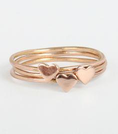 Catbird::STACK 'EM UP!::Heart Ring, Rose Gold