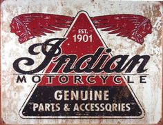 Indian Motorcycle Tin Metal Sign
