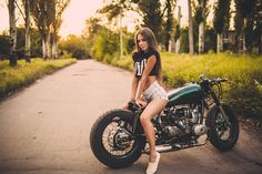 Ural Bobber and beautiful girl by Konstantin Motuz | www.caferacerpasion.com More
