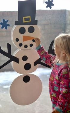 This one is seriously genius. When wet, pieces of craft foam cling to windows, so your little one can build Frosty over and over again. Get the tutorial at growingajeweledrose.com.
