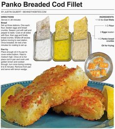 Behind the Bites: Panko Breaded Cod Fillet - Fish recipes Cod Fillet Recipes, Cod Fish Recipes, Seafood Recipes, Cooking Recipes, Baked Cod Recipes, Dinner Recipes, Healthy Recipes, Healthy Eats, Easy Recipes