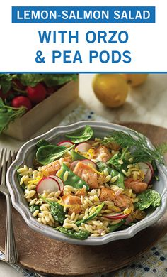 Learn how to prepare this easy Lemon-Salmon Salad with Orzo and Pea Pods recipe like a pro. With a total time of only 60 minutes, you'll have a delicious dinner ready before you know it. Salmon Recipes, Fish Recipes, Seafood Recipes, Vegetarian Recipes, Dinner Recipes, Cooking Recipes, Healthy Recipes, Potluck Recipes, Healthy Foods