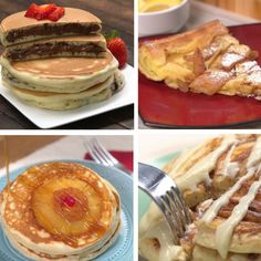 It doesn't have to be national pancake day to stuff your face with pancakes…. It doesn't have to be national pancake day to stuff your face with pancakes. TipHero chefs narrowed their fave pancake recipes down to these four! Pancakes Recipe Video, Best Pancake Recipe, Pancake Recipes, Breakfast Recipes, Waffle Recipes, Nutella Pancakes, Cinnamon Roll Pancakes, Breakfast Pancakes, Breakfast Time