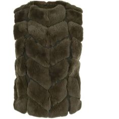 Max Et Moi Minute Fur Gilet (4 290 SEK) ❤ liked on Polyvore featuring outerwear, vests, khaki, khaki vest, brown fur vest, fur sleeveless vest, sleeveless waistcoat and fur gilet
