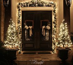 All Things Beautiful: Christmas Porch {Garland} love the square wreaths Front Door Christmas Decorations, Christmas Front Doors, Holiday Decor, Outdoor Christmas Garland, Outdoor Decorations, Christmas Entryway, Christmas Mantles, Christmas Garland With Lights, Chrismas Lights Outdoor