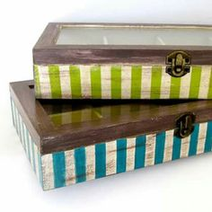 Rustic wooden tea box with stripes glass lid by ArtandWoodShop