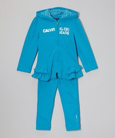Look what I found on #zulily! Turquoise Ruffle Zip-Up Hoodie & Leggings - Toddler & Girls by Calvin Klein Jeans #zulilyfinds