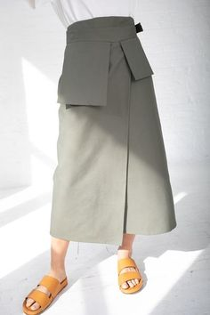 Studio Nicholson Rudd Utility Wrap Skirt - Olive on - Look Fashion, Skirt Fashion, Korean Fashion, Fashion Outfits, Steampunk Fashion, Gothic Fashion, Business Professional Attire, Business Attire, Long Skirt Outfits For Summer