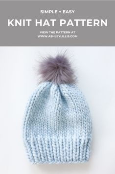 A simple chunky knit wool hat pattern that will soon become your go-to hat pattern. Beanie Knitting Patterns Free, Beanie Pattern Free, Baby Hat Patterns, Baby Hats Knitting, Knitted Hats, Knit Hat Pattern Easy, Wool Hats, Beginner Knitting Patterns, Headband Pattern