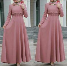 Hijab Fashion 2016, Abaya Fashion, Muslim Fashion, Fashion Dresses, Simple Long Dress, Simple Gowns, Dress Muslim Modern, Muslim Dress, Hijab Dress Party