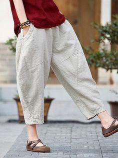 Loose Pure Color Comfortable Linen bloomers in 2020 Linen Trousers, Trouser Pants, Wide Leg Pants, Pants For Women, Clothes For Women, Cool Fabric, Pants Pattern, Linen Dresses, Ethnic Fashion