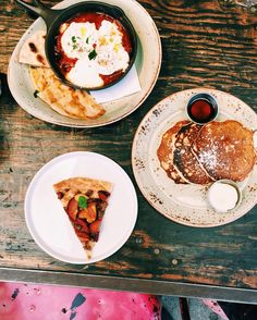 Paper or Plastik Cafe - Los Angeles peach-date galette; blueberry buttermilk ricotta pancakes with warm Vermont maple syrup; shakshuka with semolina flatbread, poached eggs, labneh, zaatar