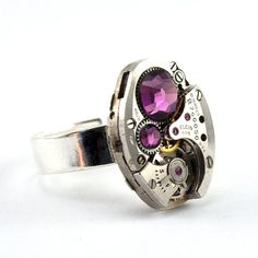 Simply gorgeous steampunk ring - just love the idea of using crystal accents. Not a typical find on a steampunk piece.