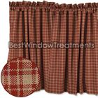 Philmont Check Barn Red Tier Curtains are a classic vintage plaid that recreates an all-time favorite staple at any home. 100% cotton fabric and fully lined -perfect bathroom or kitchen curtains -nice for bay window coverings or living room