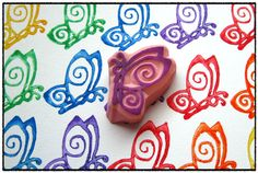 Tiny Butterfly Hand Carved Stamp