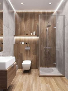 5 Interesting Ways to Decorate with Neutral Colored Bathroom Tiles # #InterestingWaystoDecoratewithNeutralColorBathroomTiles, #Interior Design Wooden Bathroom, Modern Bathroom Decor, Bathroom Inspo, Bathroom Furniture, Bathroom Ideas, Bathroom Cabinets, Bathroom Mirrors, Minimal Bathroom, Bathroom Tile Designs
