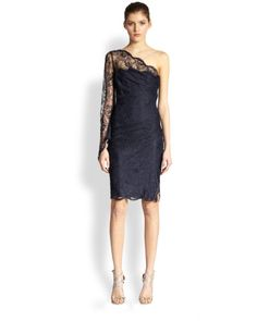 Pucci Navy One Shoulder Lace Dress