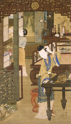 """Qing dynasty, Jin Ting Biao, """"Court lady putting hairpins & flowers in hair"""" (?) (Not prolly a portrait, but I am calling it one - lady is obv a bookworm and into other scholarly pursuits, and is only primping for a second (presumably unlike most court ladies) while servant grabs her a book"""