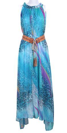 Blue Sleeveless Leopard Belt Chiffon Dress