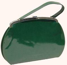 Vintage 1950s Green Sparkle Vinyl Purse